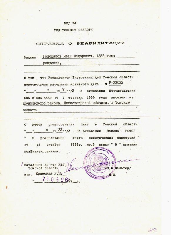 Мартиролог - Голощапов Иван Федорович - Мемориальный Музей